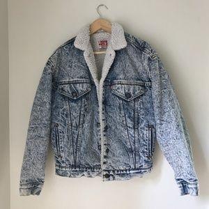 Vintage Levi's Sherpa Lined Acid Wash Denim Jacket